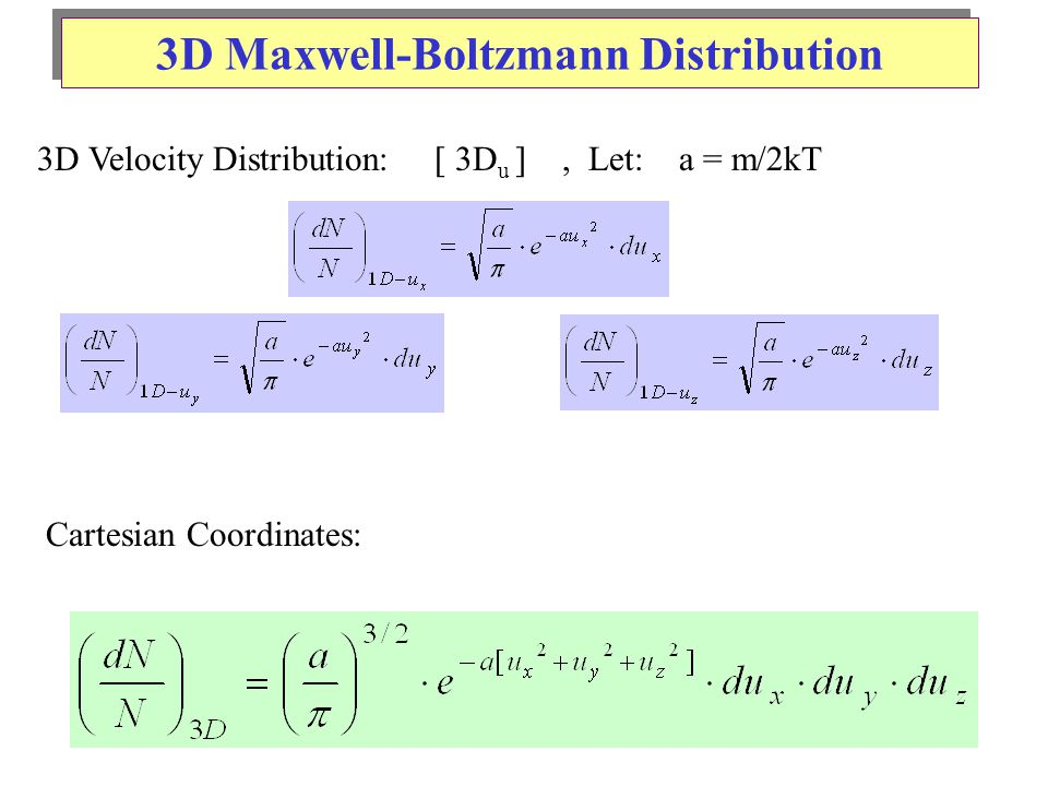 3D Maxwell-Boltzmann Distribution 3D Velocity Distribution: [ 3D u ], Let: a = m/2kT Cartesian Coordinates: