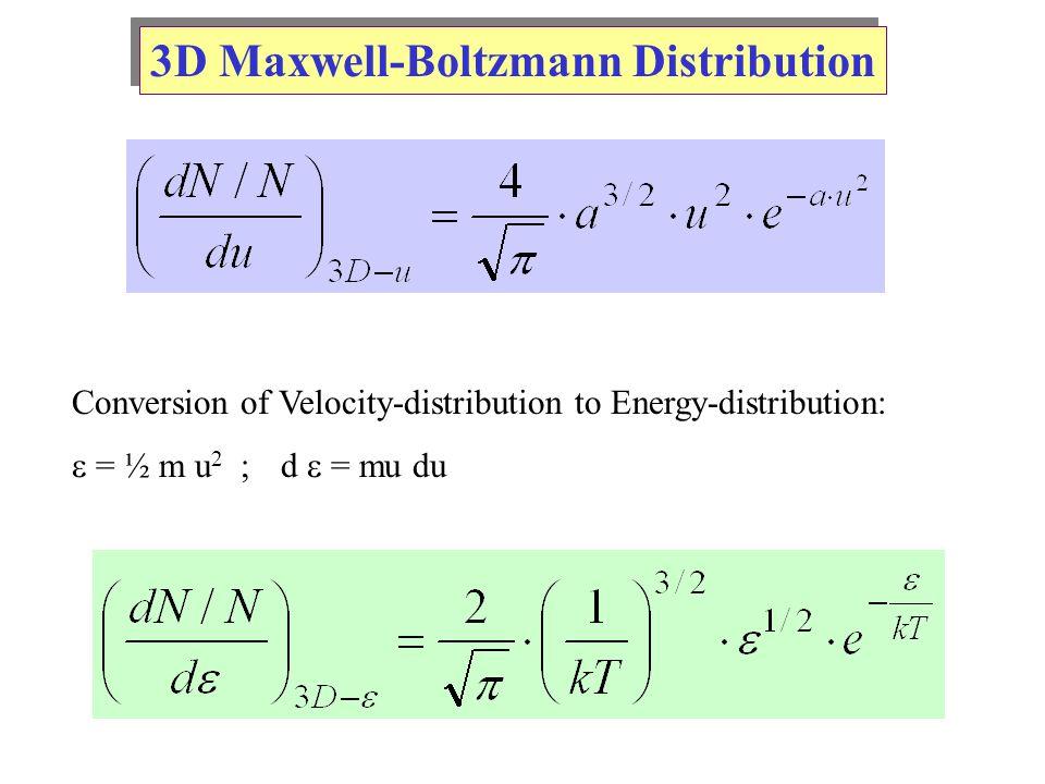 3D Maxwell-Boltzmann Distribution Conversion of Velocity-distribution to Energy-distribution:  = ½ m u 2 ;d  = mu du