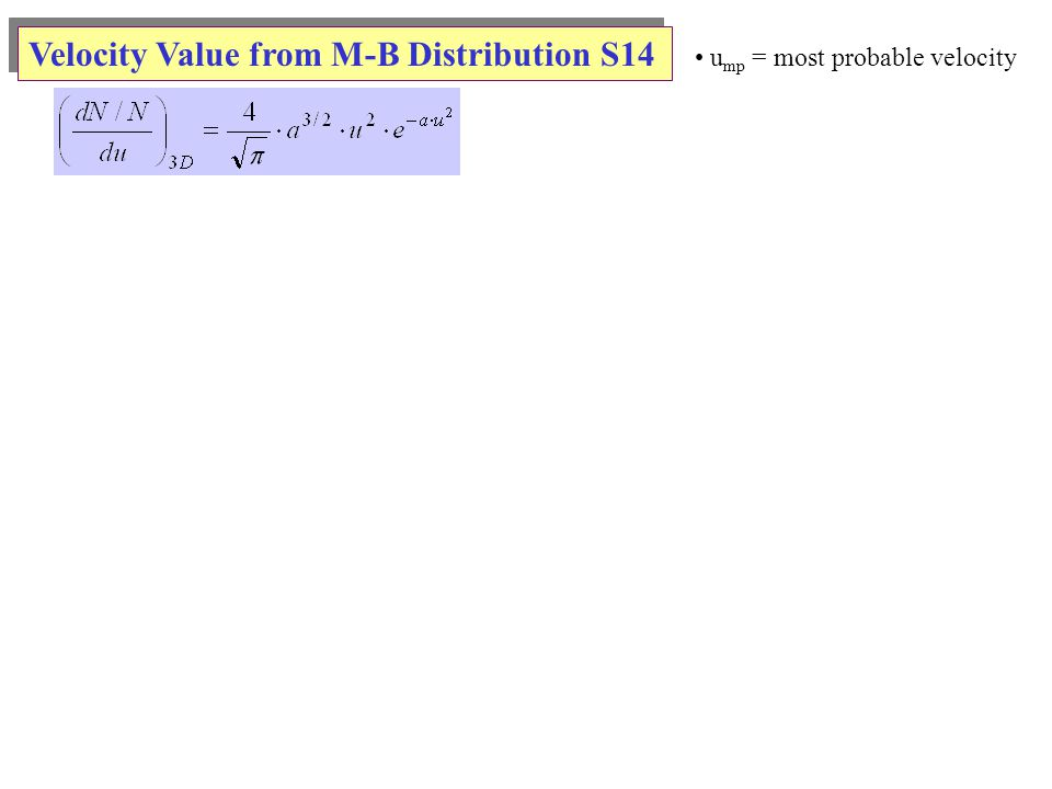 Velocity Value from M-B Distribution S14 u mp = most probable velocity