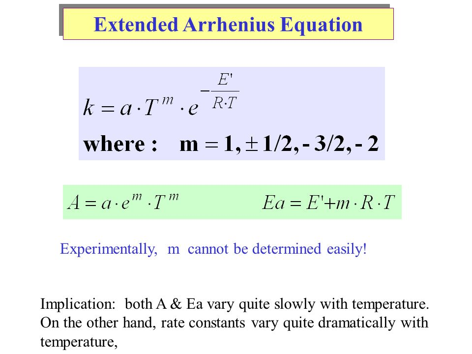 Extended Arrhenius Equation Experimentally, m cannot be determined easily.