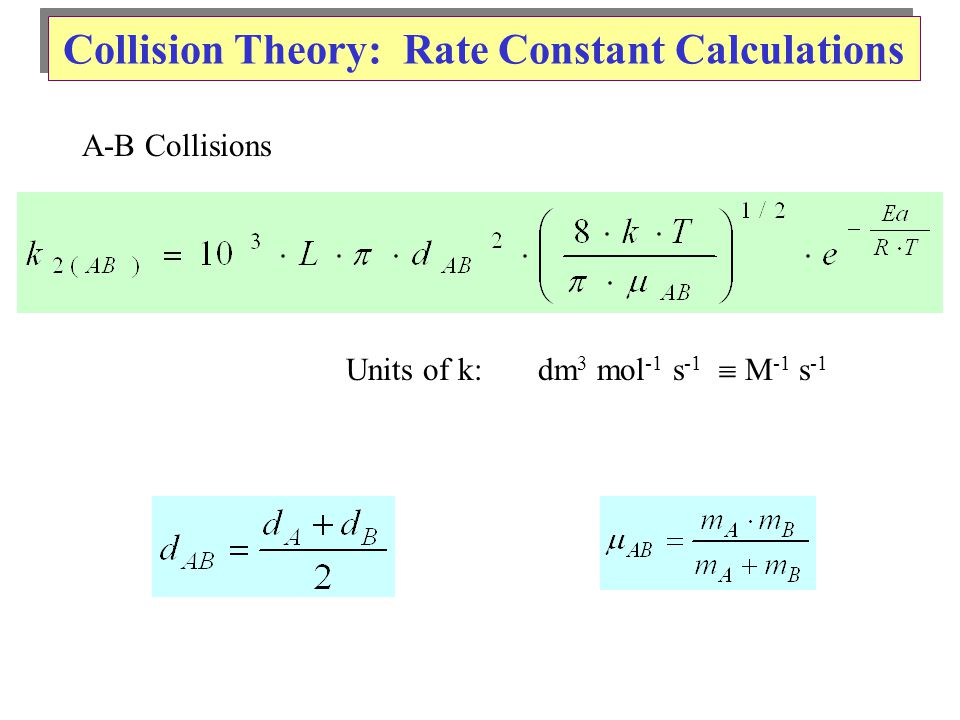 Collision Theory: Rate Constant Calculations A-B Collisions Units of k:dm 3 mol -1 s -1  M -1 s -1