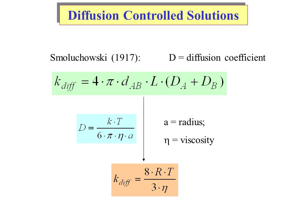 Diffusion Controlled Solutions Smoluchowski (1917): D = diffusion coefficient a = radius;  = viscosity