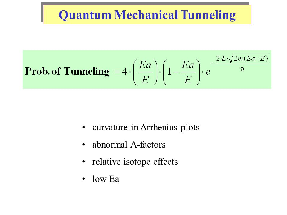 Quantum Mechanical Tunneling curvature in Arrhenius plots abnormal A-factors relative isotope effects low Ea