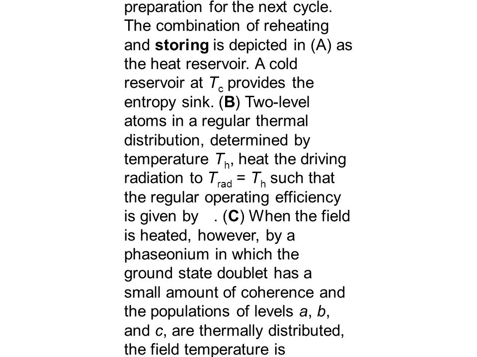 Figure 1. (A) Photo-Carnot engine in which radiation pressure from a thermally excited single-mode field drives a piston. Atoms flow through the engin