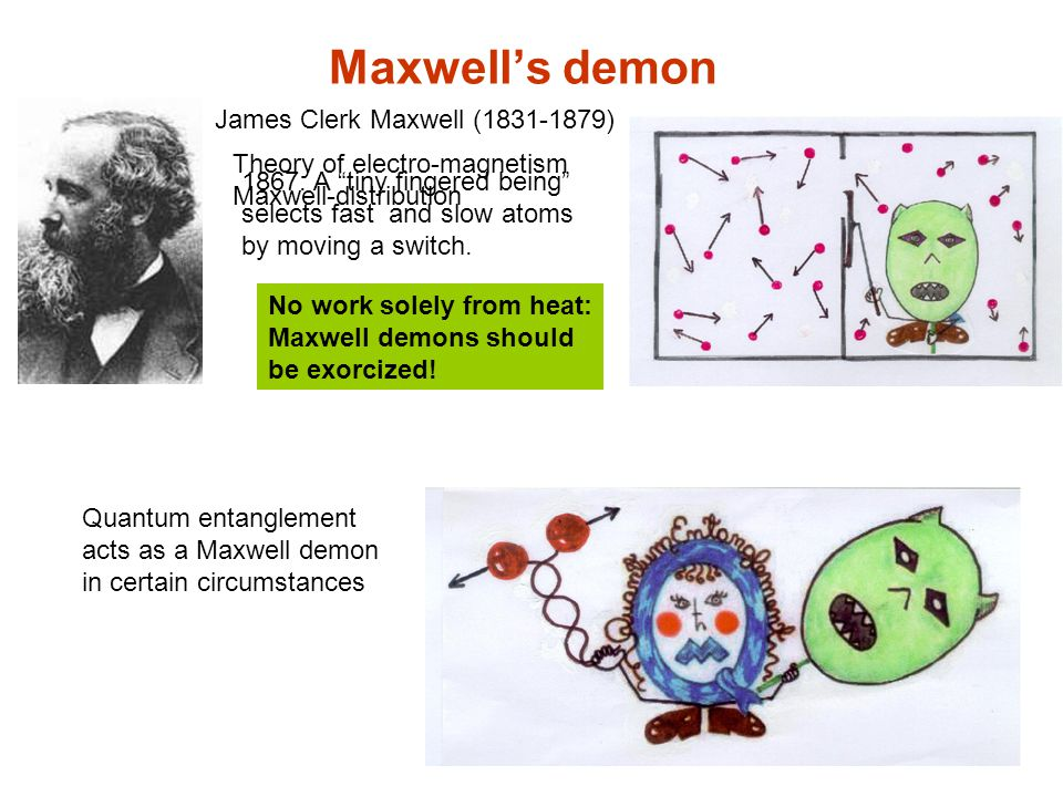 Maxwell's demon James Clerk Maxwell (1831-1879) Quantum entanglement acts as a Maxwell demon in certain circumstances No work solely from heat: Maxwell demons should be exorcized.