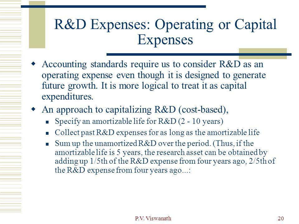P.V. Viswanath20 R&D Expenses: Operating or Capital Expenses  Accounting standards require us to consider R&D as an operating expense even though it
