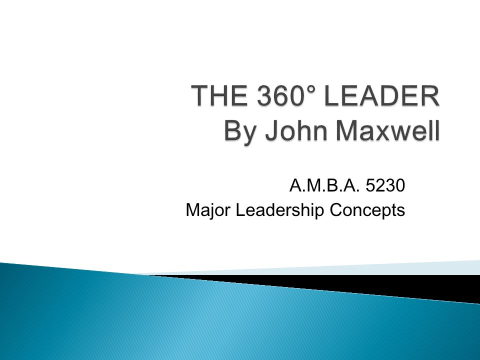 A.M.B.A. 5230 Major Leadership Concepts