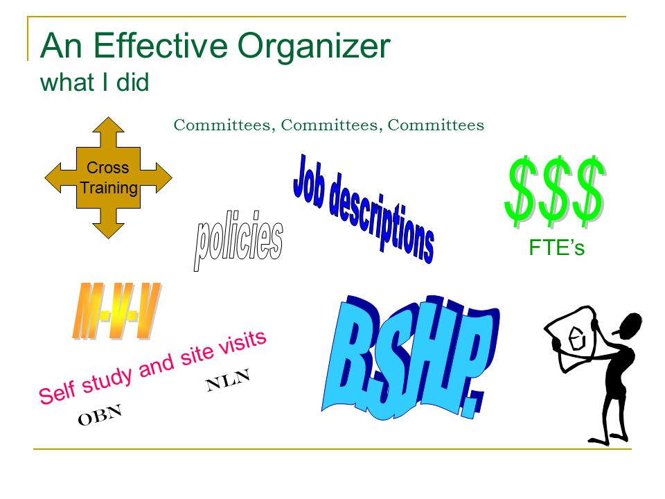 An Effective Organizer what I did Committees, Committees, Committees Cross Training Self study and site visits OBNnln FTE's