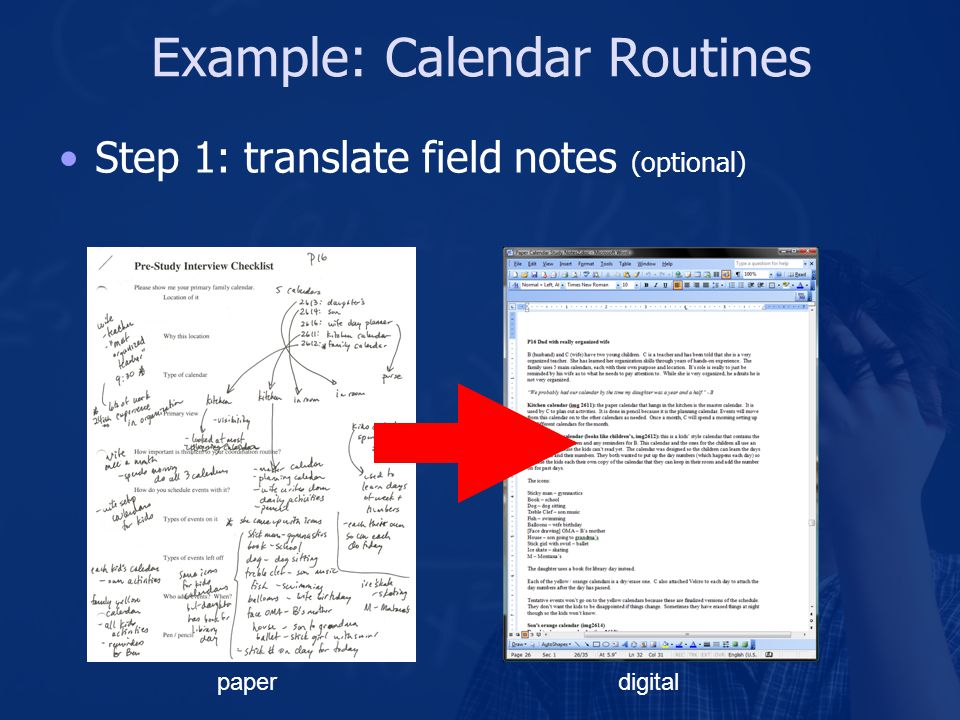 Example: Calendar Routines Step 1: translate field notes (optional) paperdigital