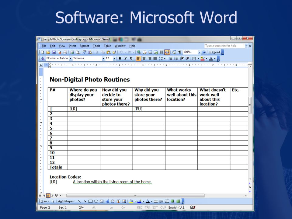 Software: Microsoft Word