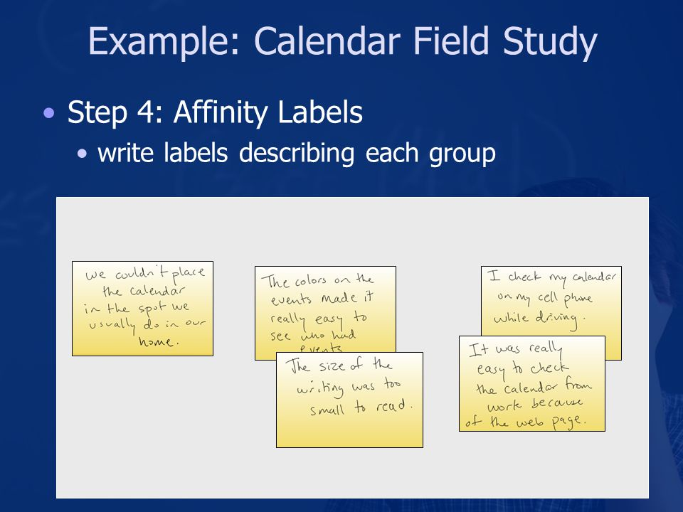Example: Calendar Field Study Step 4: Affinity Labels write labels describing each group