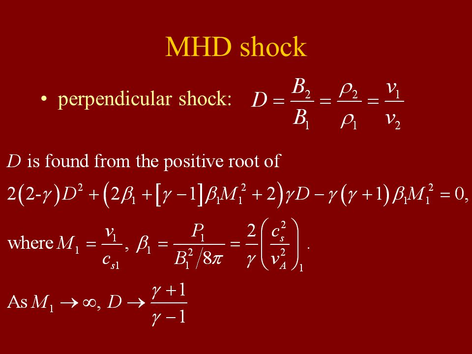 MHD shock perpendicular shock: