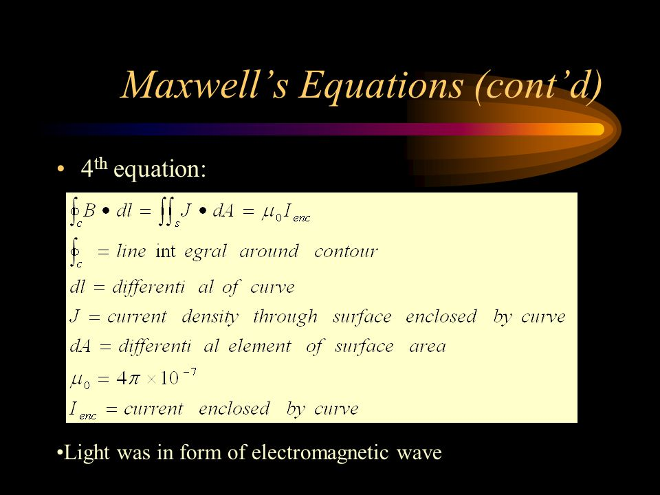 Maxwell's Equations (cont'd) 4 th equation: Light was in form of electromagnetic wave