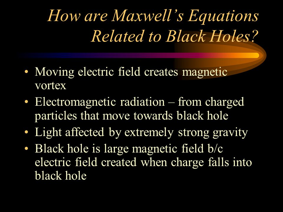 How are Maxwell's Equations Related to Black Holes.