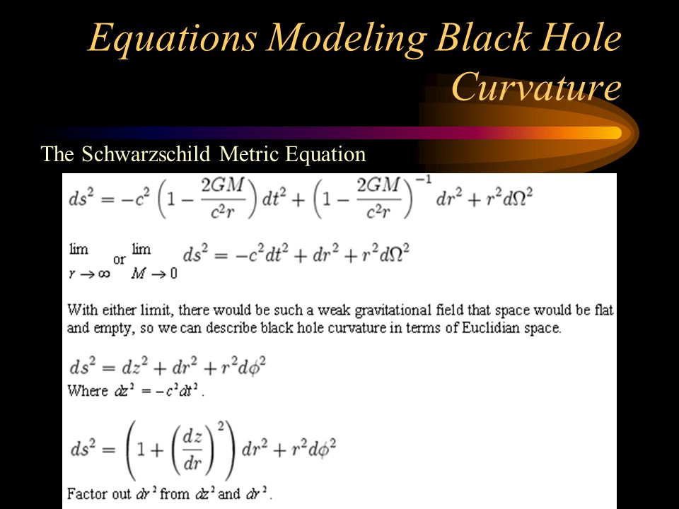 Equations Modeling Black Hole Curvature The Schwarzschild Metric Equation
