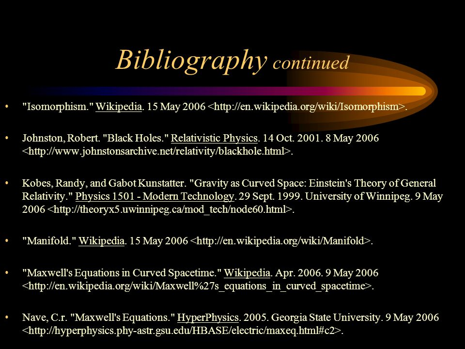 Bibliography continued Isomorphism. Wikipedia. 15 May 2006.
