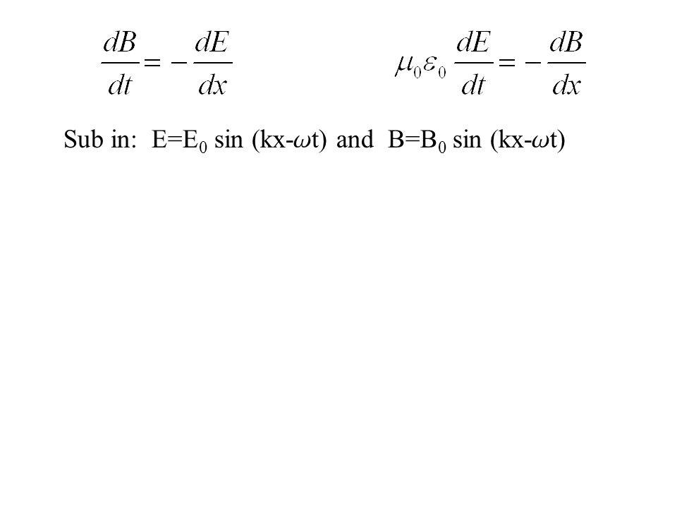 Sub in: E=E 0 sin (kx- w t) and B=B 0 sin (kx- w t)