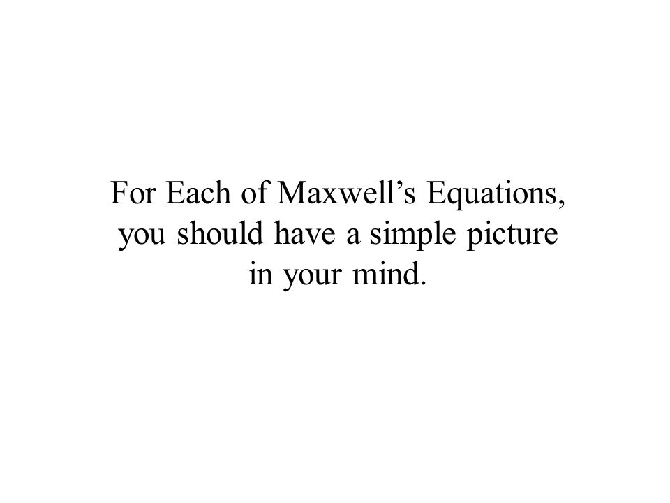 For Each of Maxwell's Equations, you should have a simple picture in your mind.