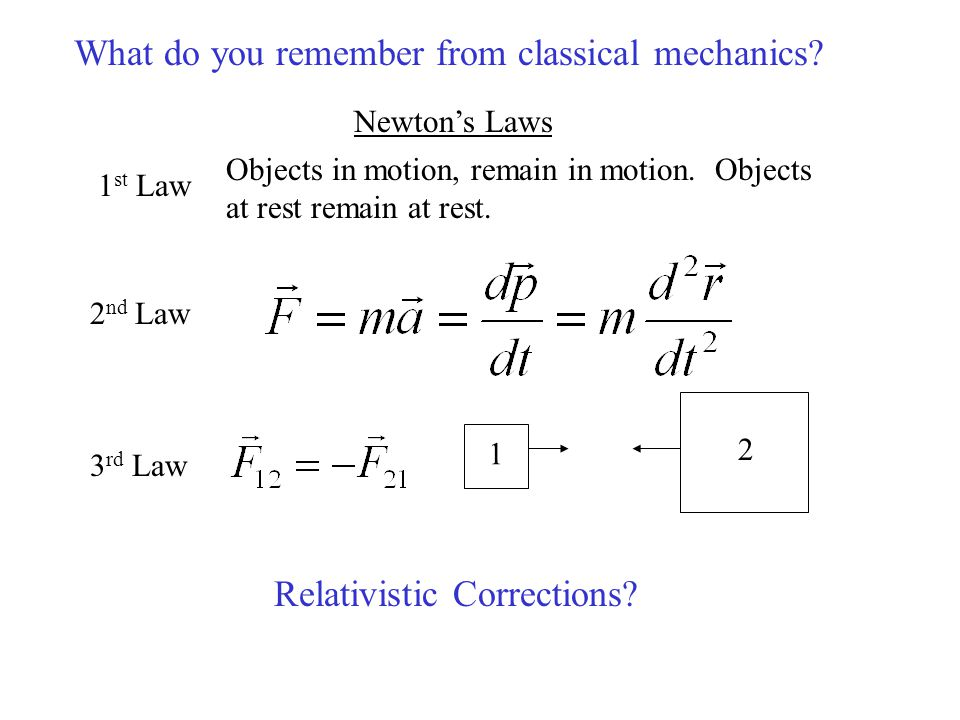 Newton's Laws 1 st Law 2 nd Law 3 rd Law Objects in motion, remain in motion. Objects at rest remain at rest. What do you remember from classical mech