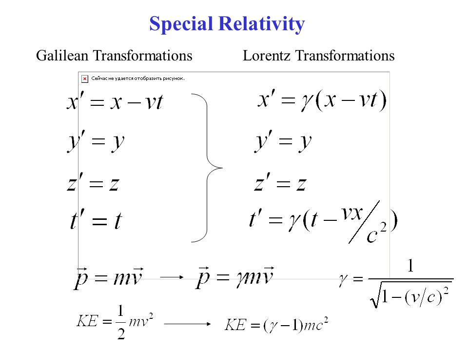 Galilean TransformationsLorentz Transformations Special Relativity