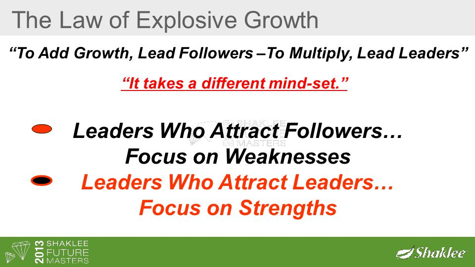 The Law of Explosive Growth To Add Growth, Lead Followers –To Multiply, Lead Leaders It takes a different mind-set. Leaders Who Attract Followers… Focus on Weaknesses Leaders Who Attract Leaders… Focus on Strengths