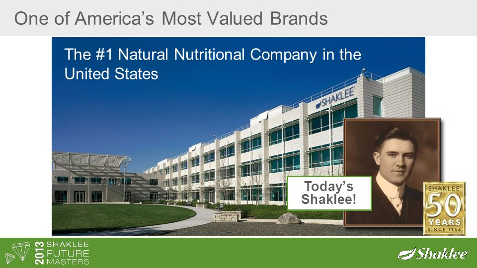 One of America's Most Valued Brands The #1 Natural Nutritional Company in the United States Today's Shaklee!