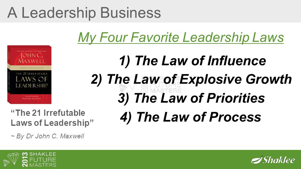 "A Leadership Business ""The 21 Irrefutable Laws of Leadership"" ~ By Dr John C. Maxwell 2) The Law of Explosive Growth 3) The Law of Priorities 4) The L"