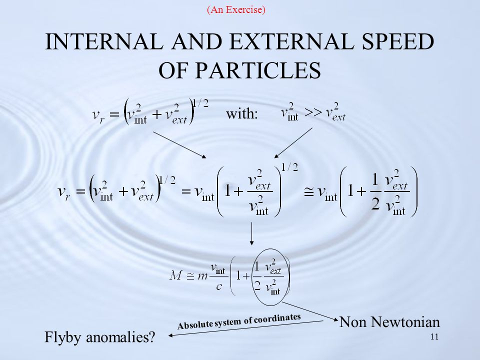 11 INTERNAL AND EXTERNAL SPEED OF PARTICLES Non Newtonian Flyby anomalies.