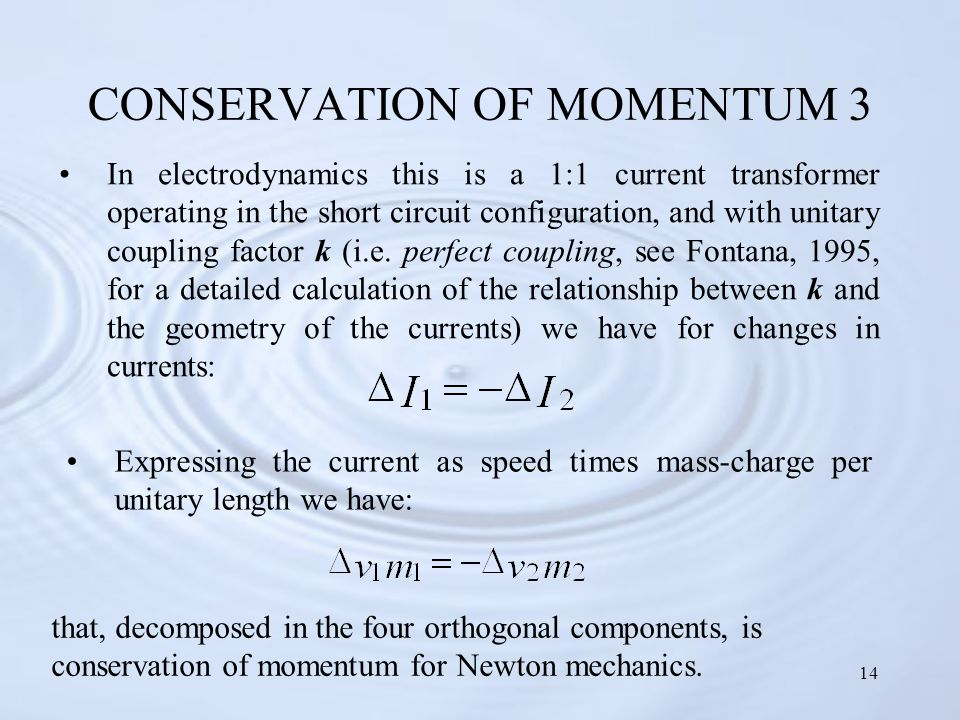 14 CONSERVATION OF MOMENTUM 3 In electrodynamics this is a 1:1 current transformer operating in the short circuit configuration, and with unitary coupling factor k (i.e.