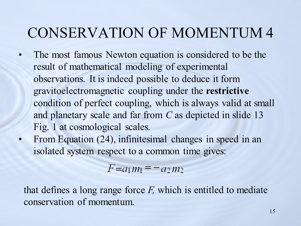 15 CONSERVATION OF MOMENTUM 4 The most famous Newton equation is considered to be the result of mathematical modeling of experimental observations.