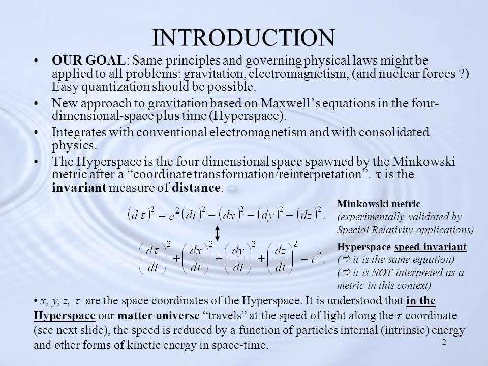 2 INTRODUCTION OUR GOAL: Same principles and governing physical laws might be applied to all problems: gravitation, electromagnetism, (and nuclear forces ?) Easy quantization should be possible.