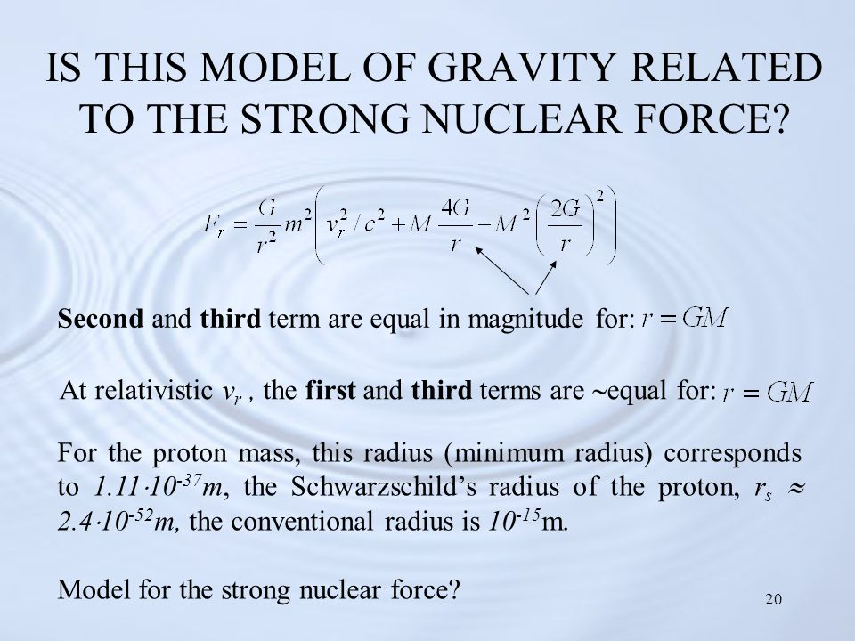 20 IS THIS MODEL OF GRAVITY RELATED TO THE STRONG NUCLEAR FORCE.