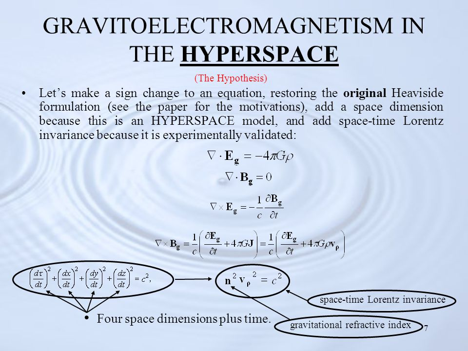 7 GRAVITOELECTROMAGNETISM IN THE HYPERSPACE Let's make a sign change to an equation, restoring the original Heaviside formulation (see the paper for the motivations), add a space dimension because this is an HYPERSPACE model, and add space-time Lorentz invariance because it is experimentally validated: Four space dimensions plus time.