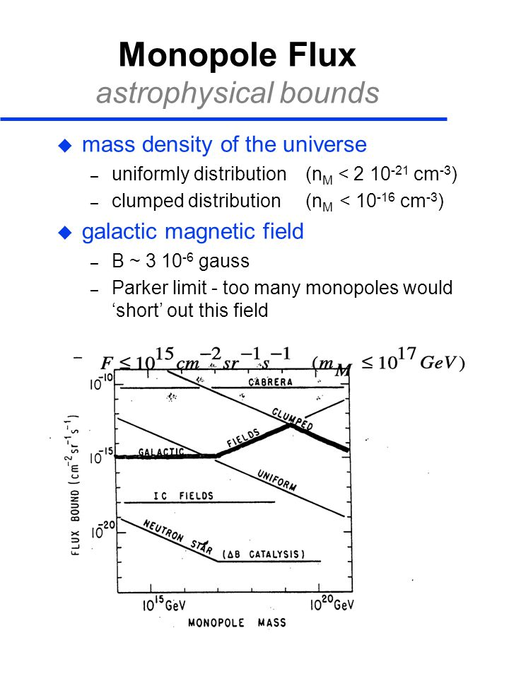 Monopole Flux astrophysical bounds  mass density of the universe – uniformly distribution (n M < 2 10 -21 cm -3 ) – clumped distribution (n M < 10 -1
