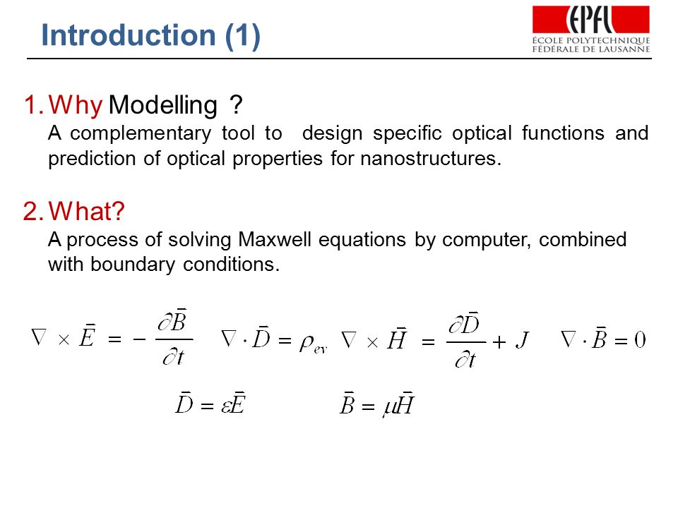 Introduction (1) 1.Why Modelling .