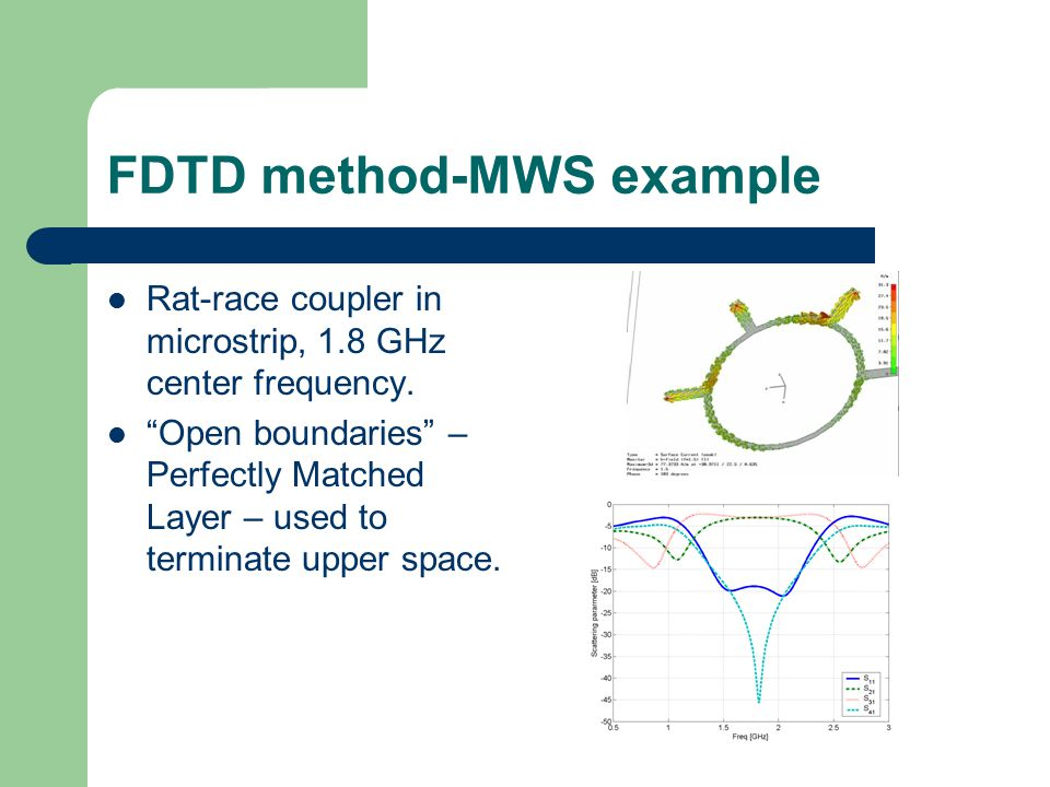 FDTD method-MWS example Rat-race coupler in microstrip, 1.8 GHz center frequency.
