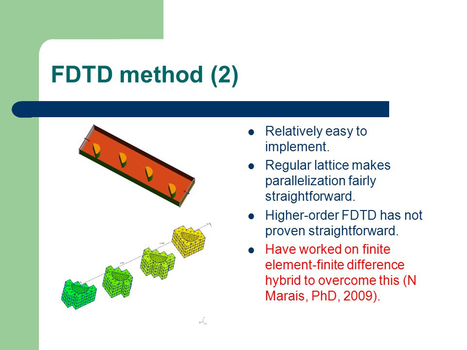 FDTD method (2) Relatively easy to implement.
