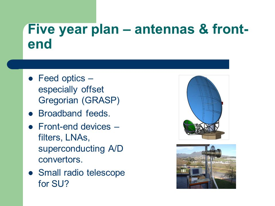 Five year plan – antennas & front- end Feed optics – especially offset Gregorian (GRASP) Broadband feeds.