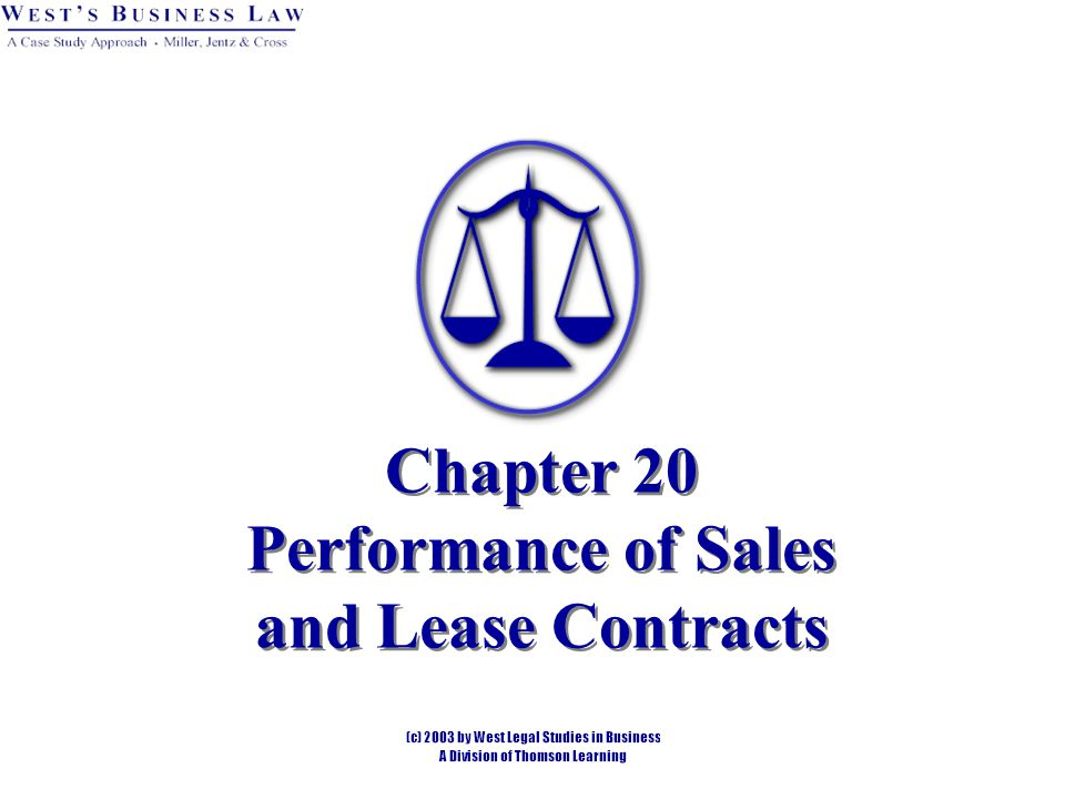 Chapter 20 Performance of Sales and Lease Contracts