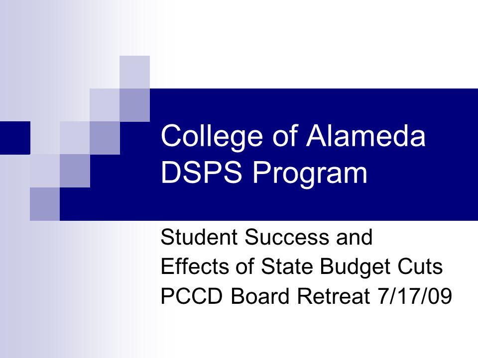 Spring 2008 COA DSPS All Enrolled % Success Avg GPA % Retain % Drop % Persist DSPS289622.7184.815.2No data Non DSPS 693966.12.8972.727.3