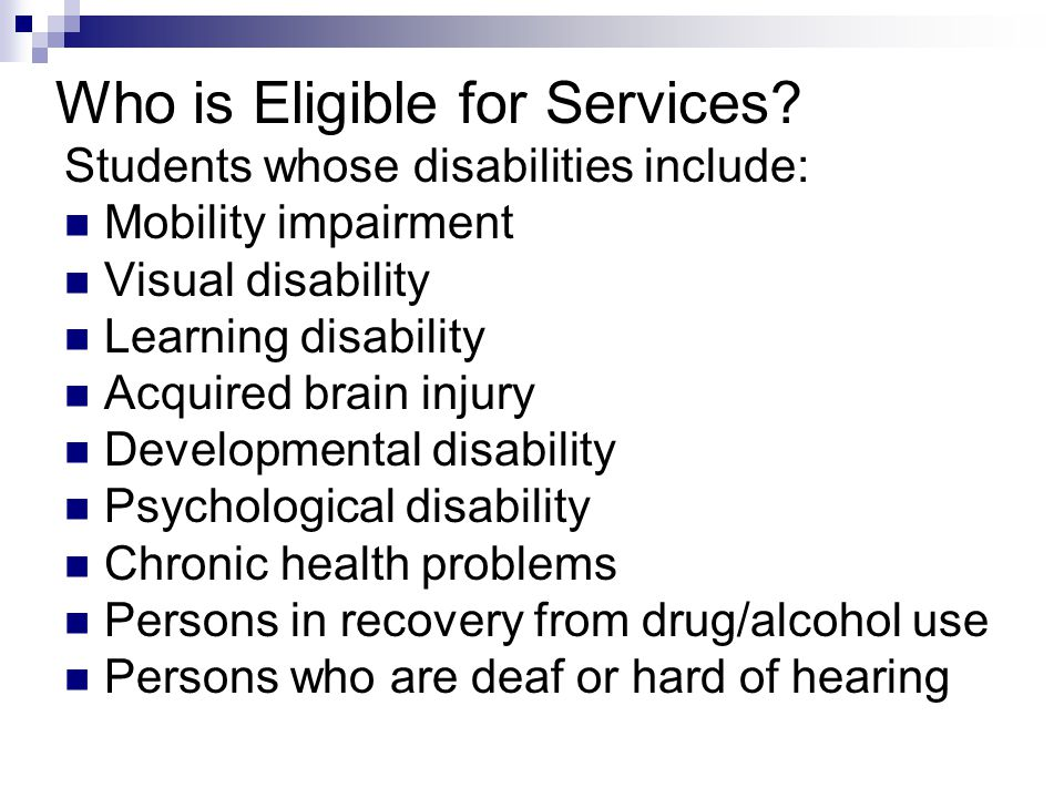 Who is Eligible for Services.