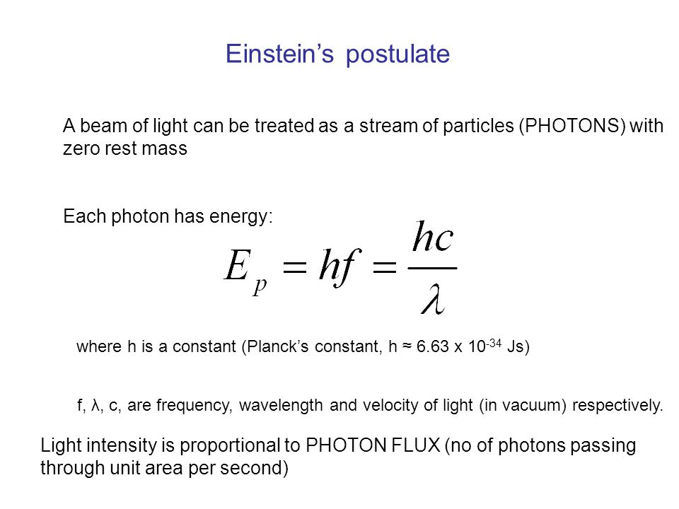 Einstein's postulate A beam of light can be treated as a stream of particles (PHOTONS) with zero rest mass Each photon has energy: where h is a constant (Planck's constant, h ≈ 6.63 x 10 -34 Js) f, λ, c, are frequency, wavelength and velocity of light (in vacuum) respectively.