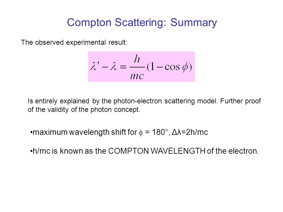 Compton Scattering: Summary The observed experimental result: Is entirely explained by the photon-electron scattering model.
