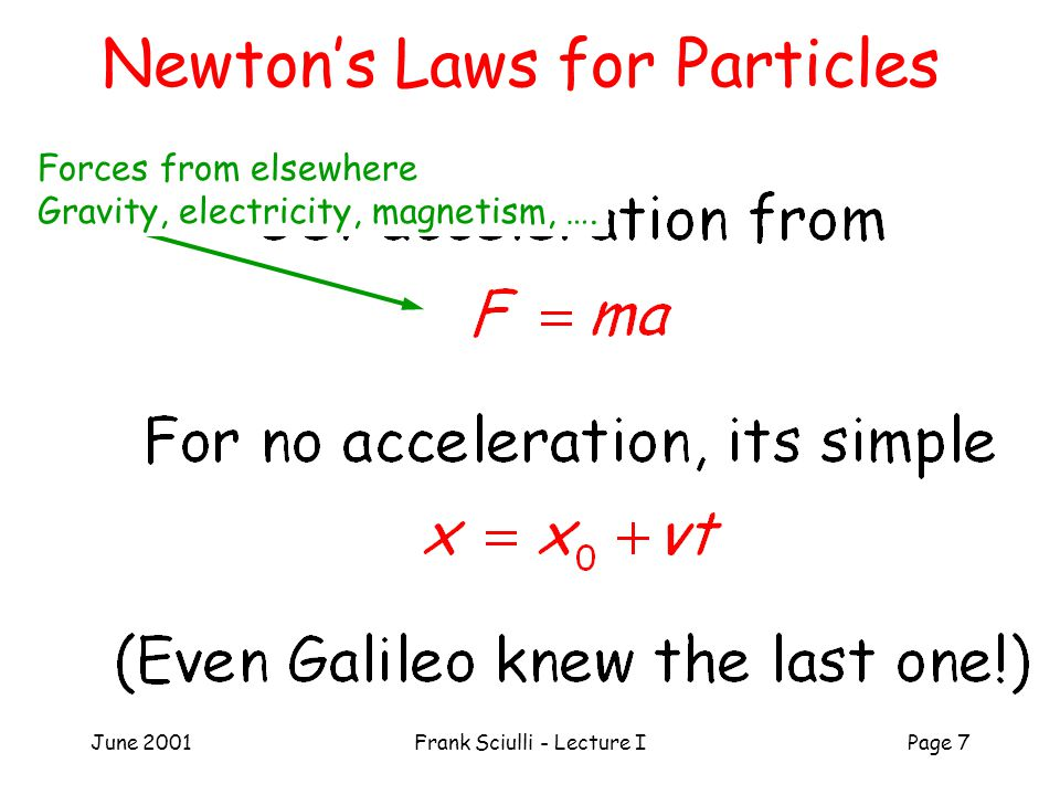 June 2001Frank Sciulli - Lecture IPage 7 Newton's Laws for Particles Forces from elsewhere Gravity, electricity, magnetism, ….