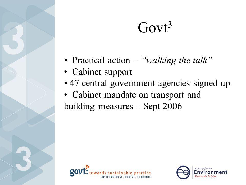 Govt 3 Practical action – walking the talk Cabinet support 47 central government agencies signed up Cabinet mandate on transport and building measures – Sept 2006