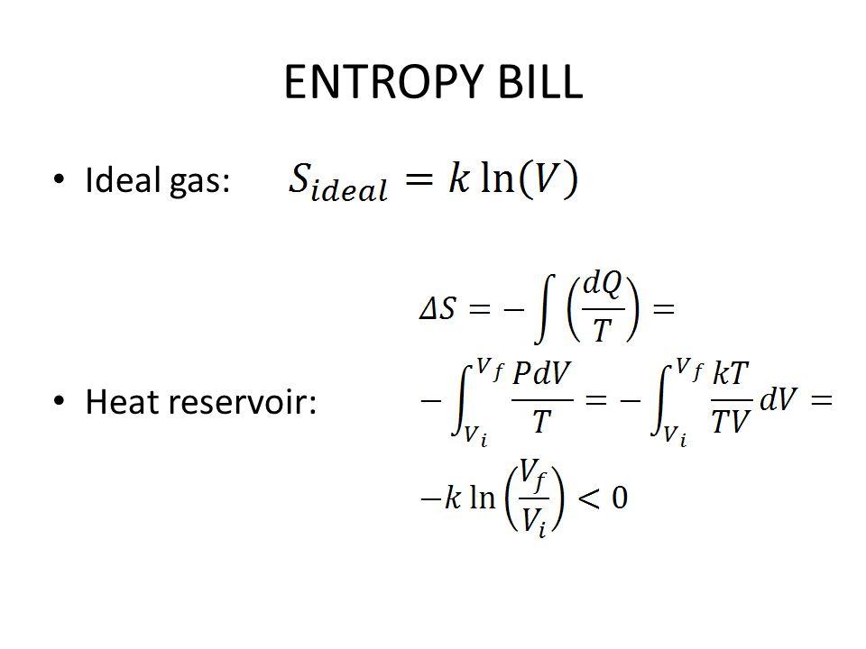 ENTROPY BILL Ideal gas: Heat reservoir: