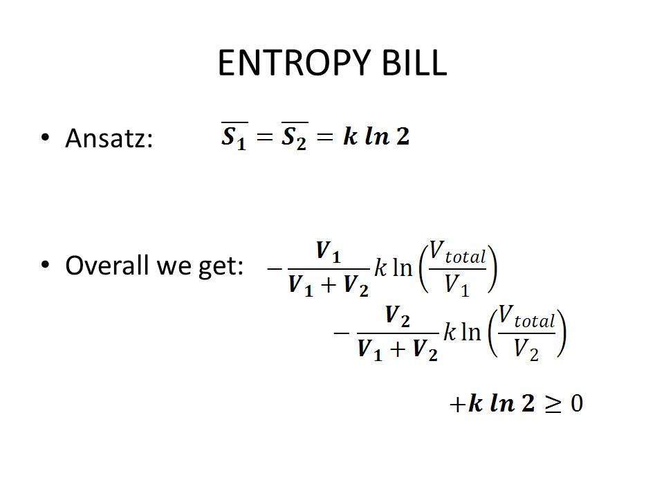ENTROPY BILL Ansatz: Overall we get: