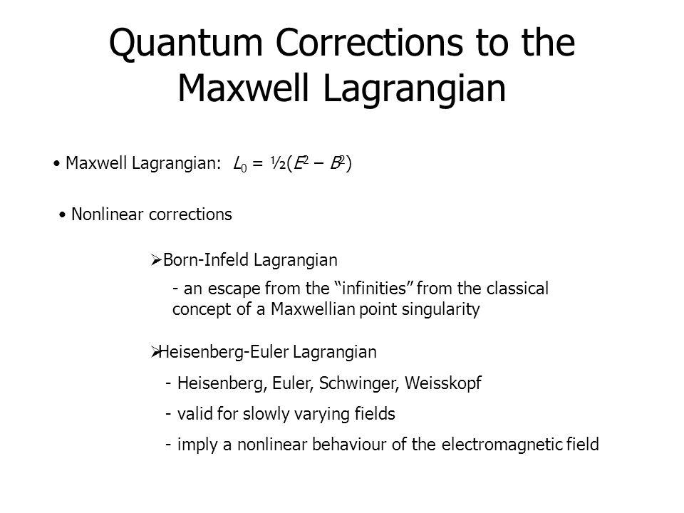 Quantum Corrections to the Maxwell Lagrangian Maxwell Lagrangian: L 0 = ½(E 2 – B 2 ) Nonlinear corrections  Born-Infeld Lagrangian  Heisenberg-Eule