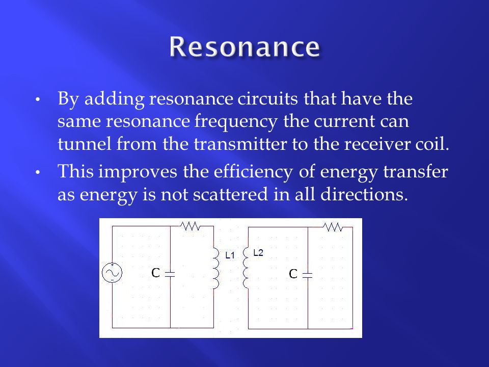 By adding resonance circuits that have the same resonance frequency the current can tunnel from the transmitter to the receiver coil.