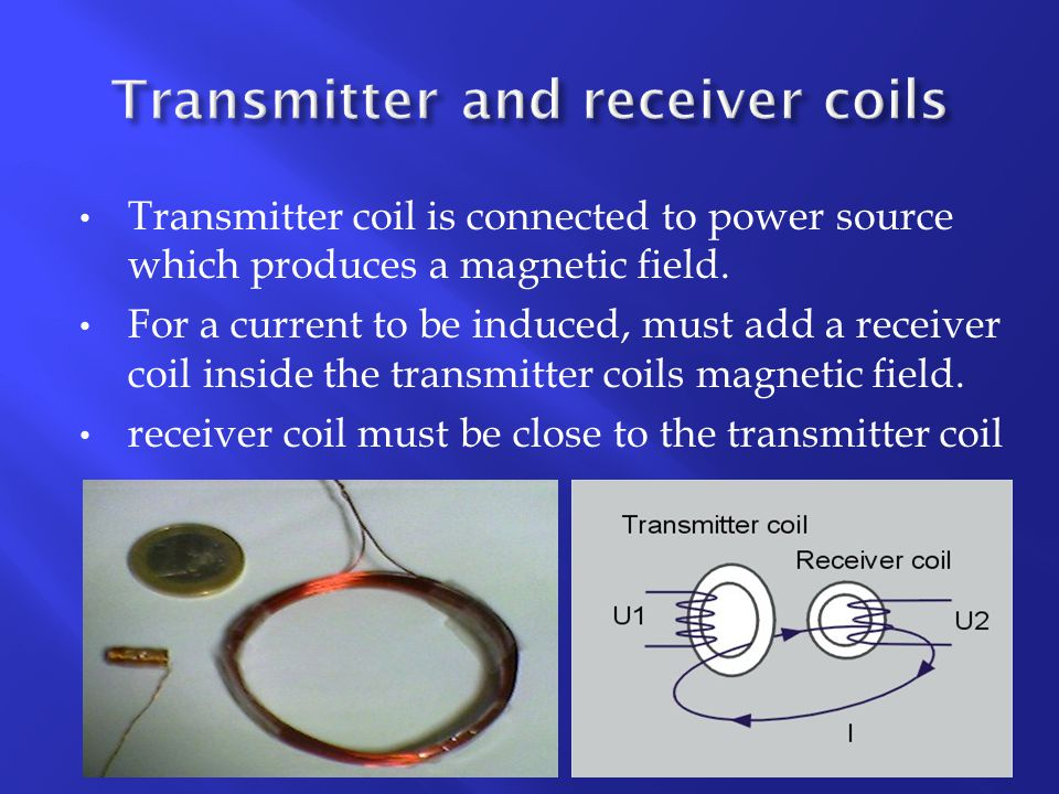 Transmitter coil is connected to power source which produces a magnetic field.